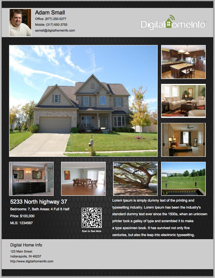 Real Estate Listing Brochure Template Kleobeachfixco - House for sale brochure templates free